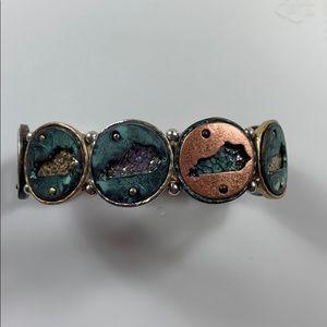 Jewelry - Nwot Kentucky stretch turquoise metal bracelet